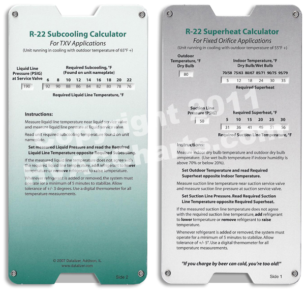 R-22 Subcooling and Superheat calculator